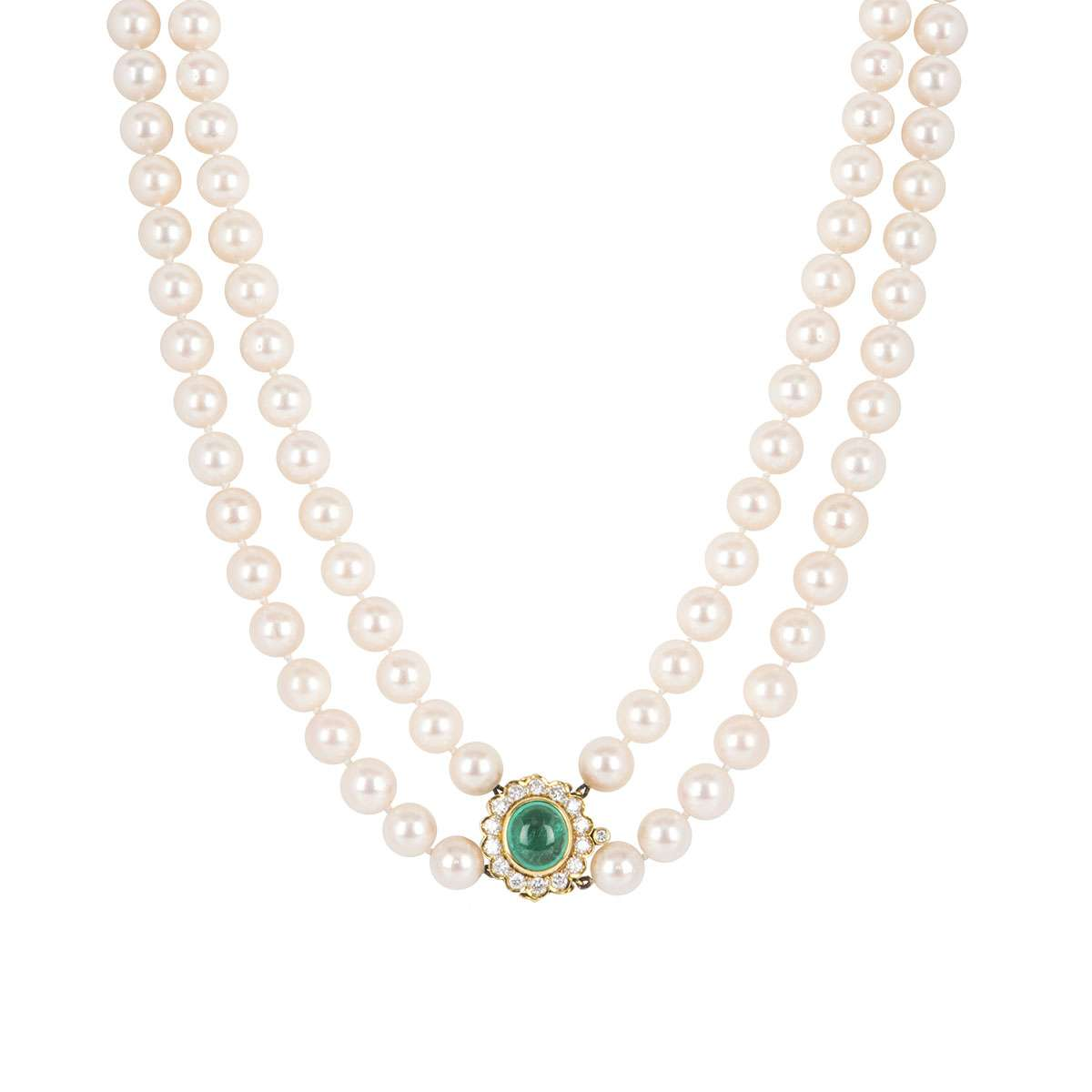 Yellow Gold Diamond, Emerald and Pearl Necklace